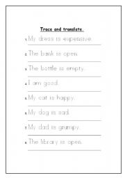 English worksheet: Trace and translate.