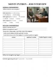 English Worksheet: Monty Python - Job interview