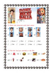 English Worksheets: Cloudy with a chance of meatballs