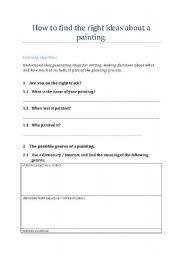 English Worksheet: How to plan, find ideas in order to write an essay on a painting