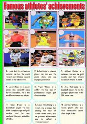 English Worksheets: Famous athletes�s achievements-cartoon