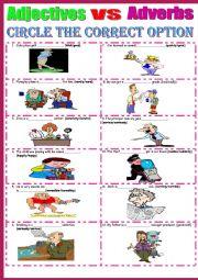 English Worksheet: Adverbs vs Adjectives