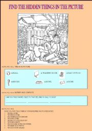 English Worksheets: find the hidden things in the picture