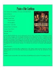 English Worksheet: Movie Detail 6 (Pirates of the Caribbean 1)
