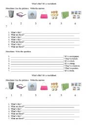 English Worksheets: What�s This?  What are these?
