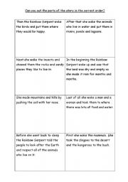 English Worksheet: The rainbow serpent     Sequence the story.