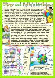 English Worksheets: Oliver and Polly�s birthdays