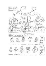 English worksheet: Numbers(1-10) and colours activity