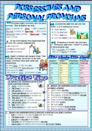 English Worksheet: POSSESSIVES,  PERSONAL & OBJECT PRONOUNS