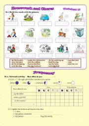 English Worksheet: Housework, chores and frequency advebs