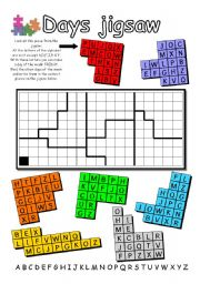 English Worksheets: Days Jigsaw