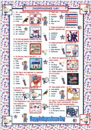 English Worksheet: Independence Day Quiz - with answers