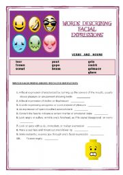 English Worksheet: Words describing Facial Expressions