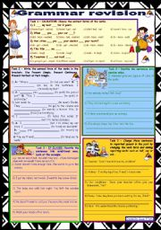 English Worksheet: Grammar revision 2 ☺ 5 tasks ☺ for intermediate, upper-intermediate level ☺ 30 minute-test ☺ with key