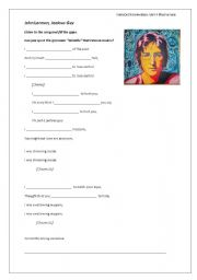 Jealous Guy Song worksheet to practice the past continuous