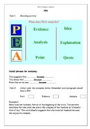 English Worksheets: PEA activities