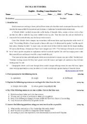 English Worksheets: Reading comprehension 11 year topic working conditions