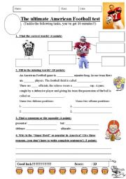 English Worksheet: short test about American Football