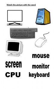 English Worksheet: Main parts of computers