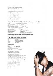 English Worksheets: Next 2 You -Chris Brown ft. Justin Bieber-