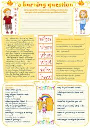 English Worksheets: A burning question