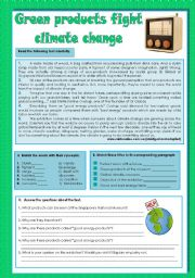English Worksheet: Green products fight climate change