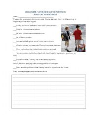 English Worksheets: organize the ideas for writing