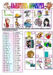 English Worksheet: ADJECTIVES: OPPOSITES