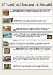 English Worksheet: Strange food from around the World