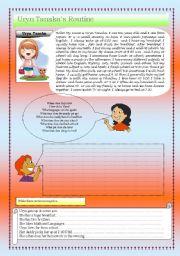English Worksheet: URYN�S DAILY ROUTINE