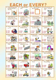 English Worksheets: EACH or EVERY? ***MULTIPLE CHOICHE ***EDITABLE