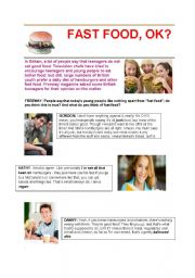 English Worksheet: Fast Food- Reading with questions