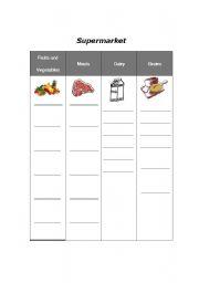 english worksheets supermarket sorting foods into food groups. Black Bedroom Furniture Sets. Home Design Ideas