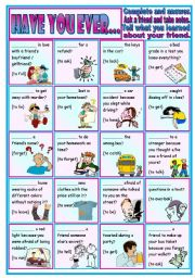 English Worksheet: Have you ever�? (tight situations):  conversation � grammar (pres. perfect) � writing � 2 pages � editable