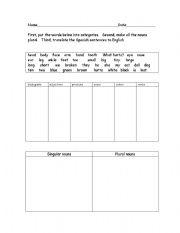 English worksheets: Categorizing vocabulary