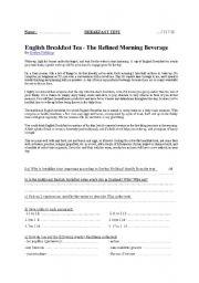 English Worksheet: English Breakfast Test