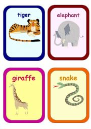 English Worksheets: wild animals flashcards