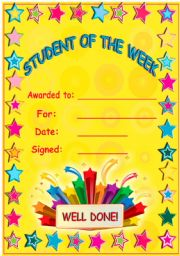 English Worksheets: Student of the week!