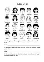 English Worksheet: Guess who?