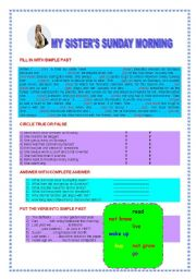 English Worksheets: MY SISTER�S SUNDAY MORNING