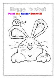 English Worksheet: Easter Bunny to color.