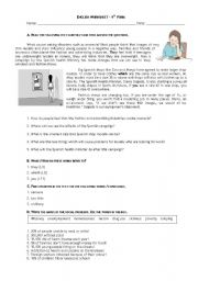 English teaching worksheets: Anorexia