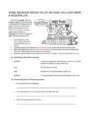 English Worksheet: making inferences fast food