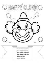 English Worksheet: Happy clown