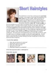 English Worksheets: Short Hairstyles