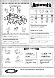 English Worksheets: Animals TWO