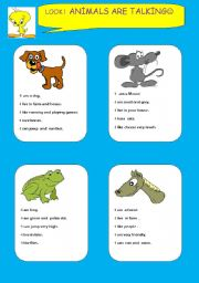 English Worksheets: animals are talking