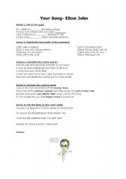 English Worksheet: Your Song- Elton John