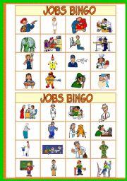 english worksheets jobs bingo game   37 jobs   10 bingo