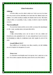 English Worksheets: Vocabulary for Film Production